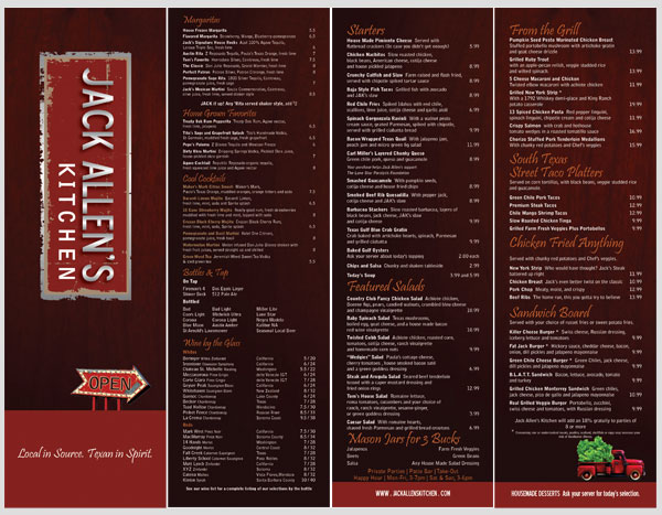 Jack Allens Kitchen - MENU